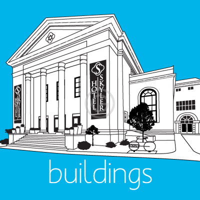 Vector graphics of buildings made from photos