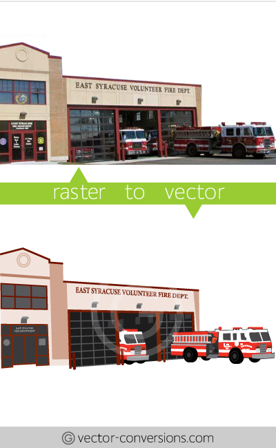 Vectorization sample from photograph to vector lineart graphic