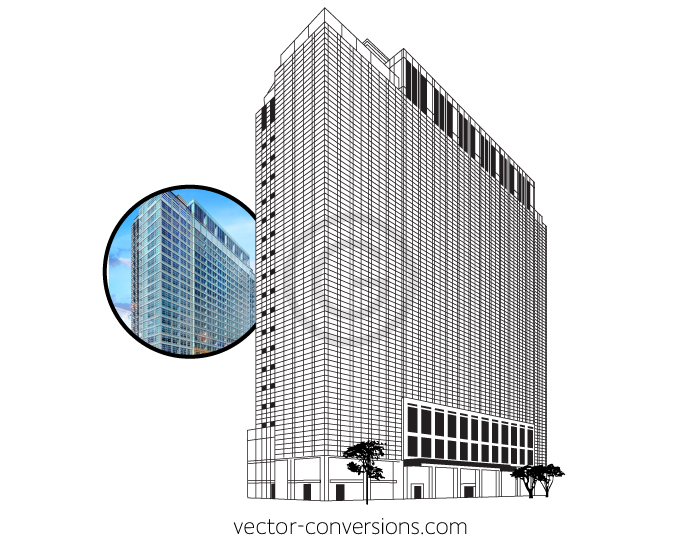 Custom Vector drawing of the Hampton Inn Chicago building in line art format for glass etching