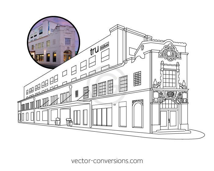 Custom Line Art Vector Conversion of the Tru by Hilton building in San Antonio