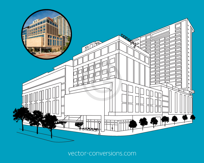 Custom Vector line art drawing of the Hilton's Canopy Dallas hotel building