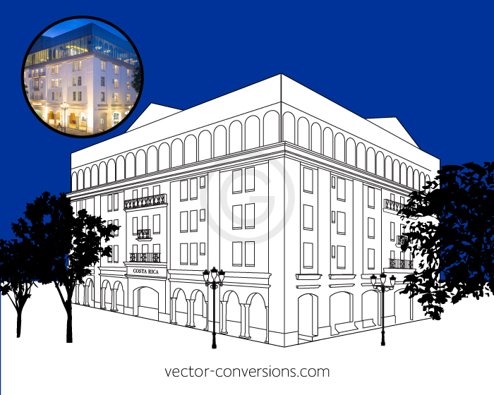 Photo to vector conversion of the Hilton's Gran Hotel buidling in Costa Rica