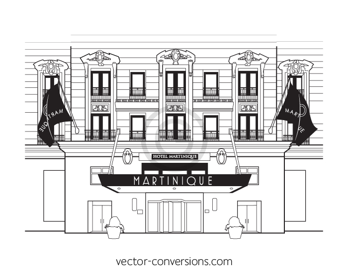 Custom Vector drawing of the Hilton Martinique Hotel building
