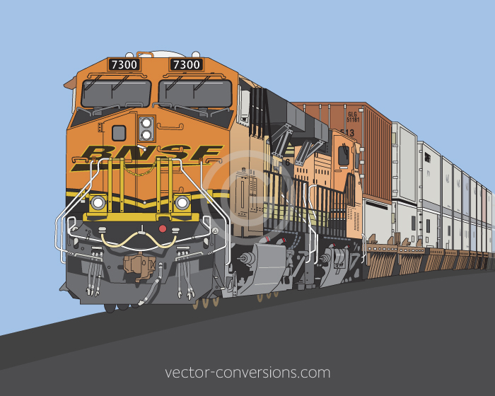 Vector drawing of a BNSF train