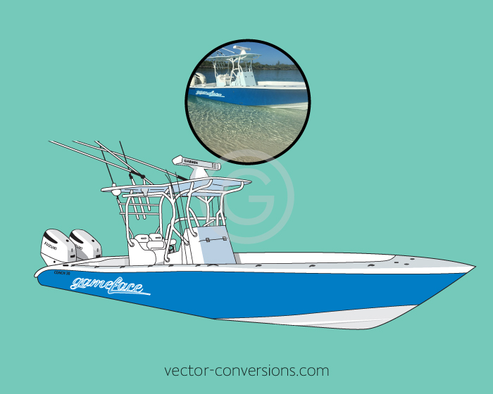 Vector graphic of a boat for promo items