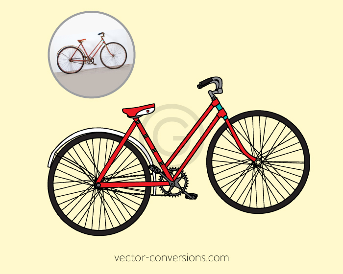 Vintage bike vector drawing for printing on reusable stainless steel bottles