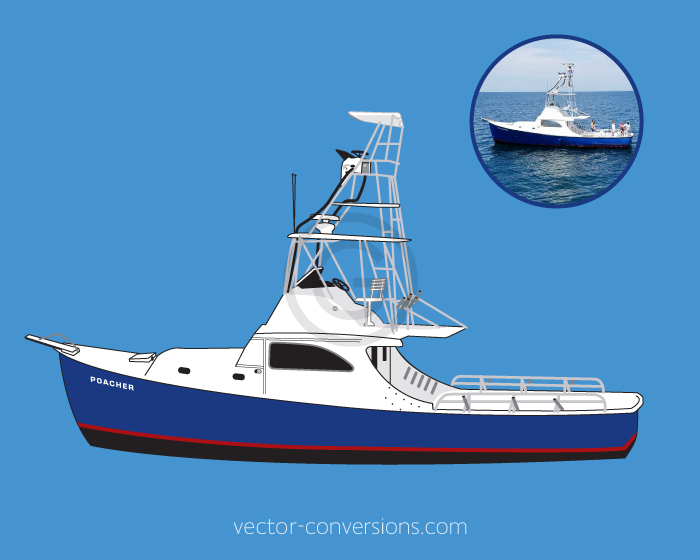 Vector drawing of a boat for screen printing