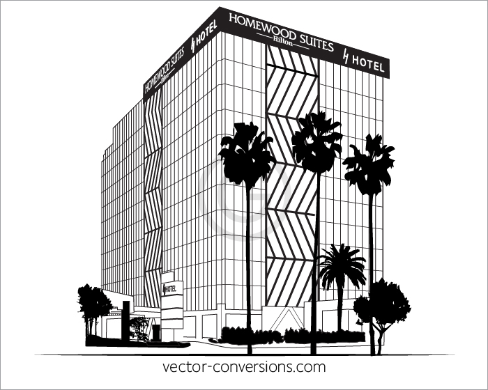 Vector black and white drawing building
