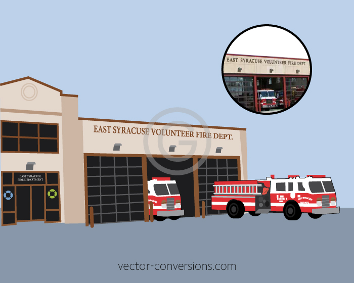 Vector drawing of fire department building and trucks for screen printing