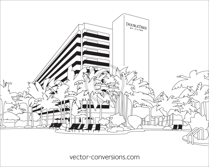 Vector Line Art drawing of building