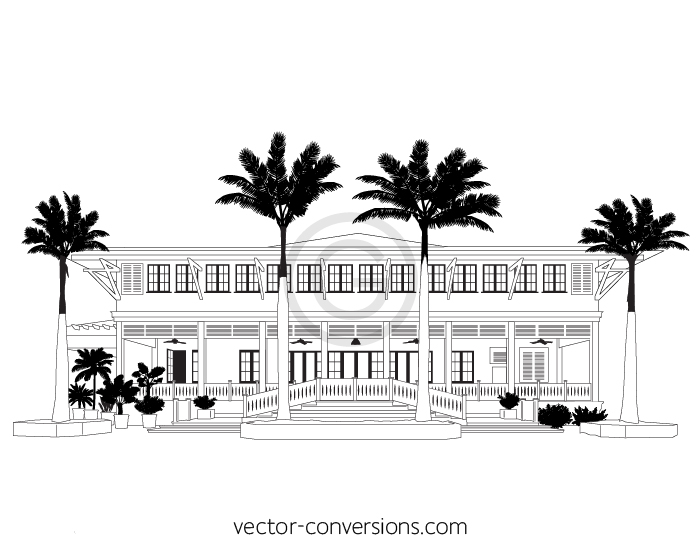 Vector black and white line art drawing of building