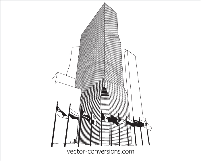 Line Art Vector Conversion of building