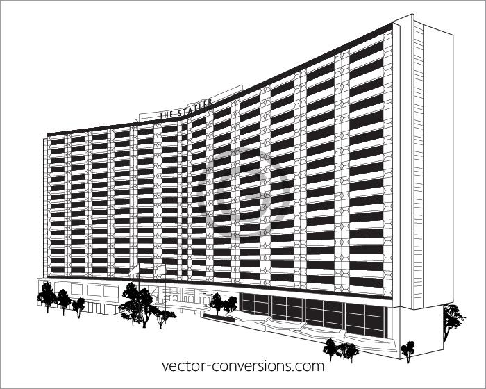 Vector line art building drawing