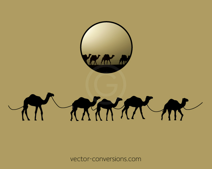Vector drawing silhouette of camels for laser engraving