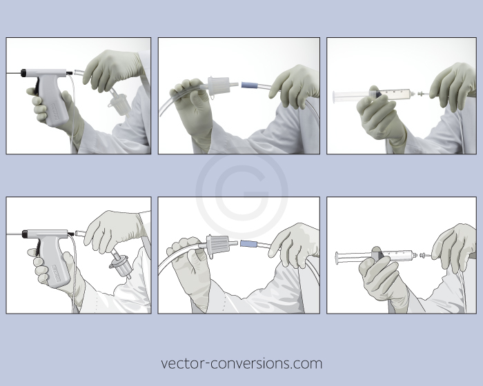 Vector illustration of medical equipment for instruction manual