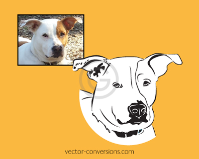 Vector conversion of dog's face for enamel pins