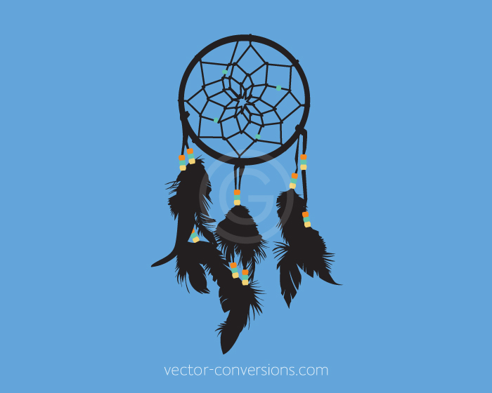 Photo to vector conversion of a dreamcatcher for printing on bottles