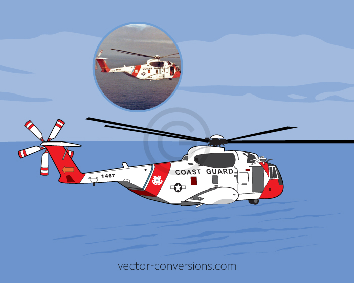 Vector conversion of a coast guard helicopter for screen printing