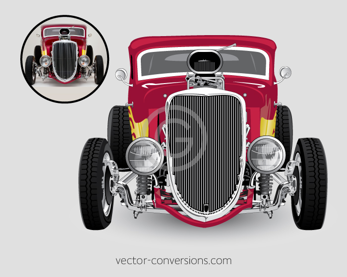 Vector plus raster drawing of a hot rod for banners and other large format print