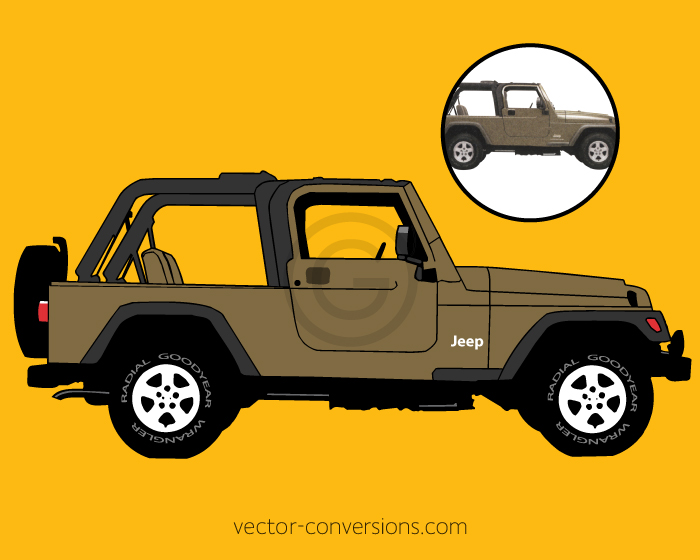 Vectorization of a Jeep for screen printing