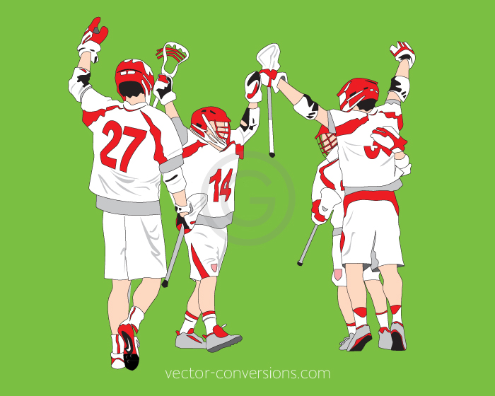 Vector drawing of Lacrosse Players to print using spot colors