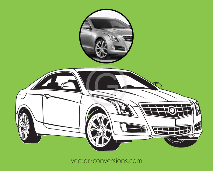 Vector graphic if a cadillac in black and white for engraving
