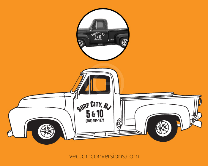 Vector graphic of a chevy truck in black and white