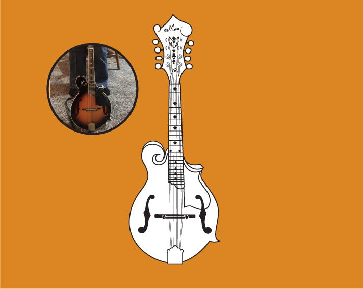 Vector line art drawing of a mandolin musical instrument