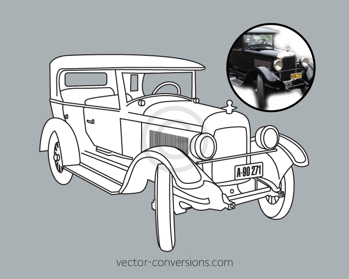 vector line art drawing of an antique car