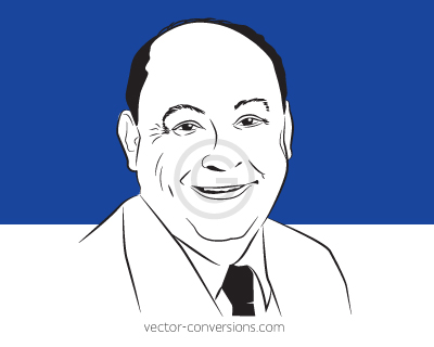 Vector Conversion Sample Line Art man's face