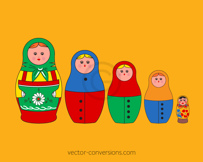 Russian dolls vector graphic for engraving