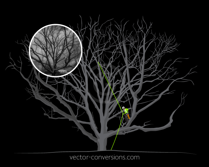 Vector drawing of a tree worker for screen printing