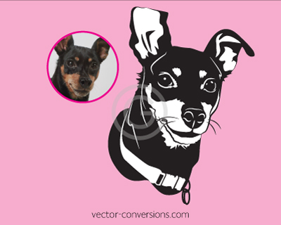 Vector Conversion in black and white or little dog