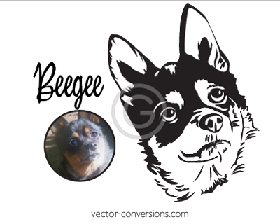 Vector Conversion drawing of dog for metal stamping