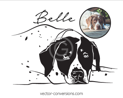Line Art Vector Conversion of dog for sand blasting