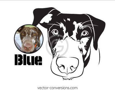 Vector Conversion Black and white drawing of dog for engraved product