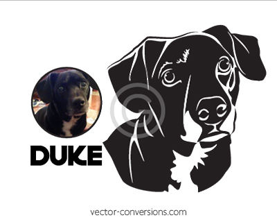 Vector Conversion Black and white Line Art drawing of dog
