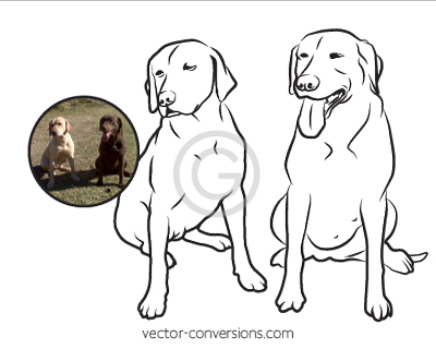 Line Art Vector Conversion of two dog friends for engraving on stone