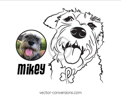 Black and white Vector Conversion of pet for cutting