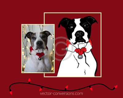 Vector conversion black and white vector drawing of dog