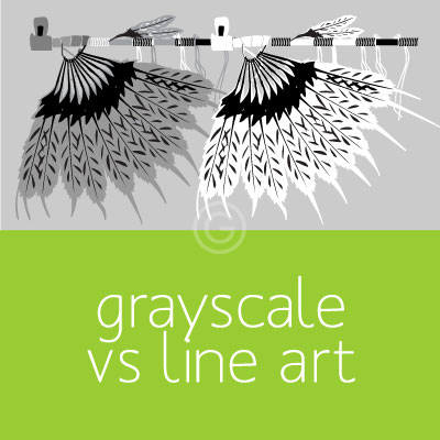 Black and White: Vector Grayscale vs Vector Line Art
