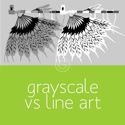 Black and White: Vector Grayscale vs Vector Line Art